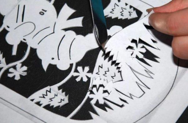 Новогодние трафареты и шаблоны для вырезания на окна вытынанки на Новый год 2019 для распечатки