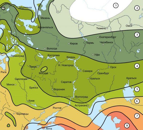 Зоны морозостойкости растений - карта России и таблица зон USDA