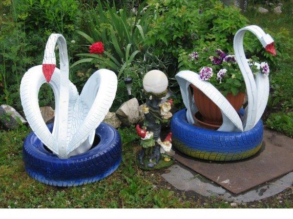 Как сделать лебедя из покрышки своими руками - схема и пошаговая инструкция